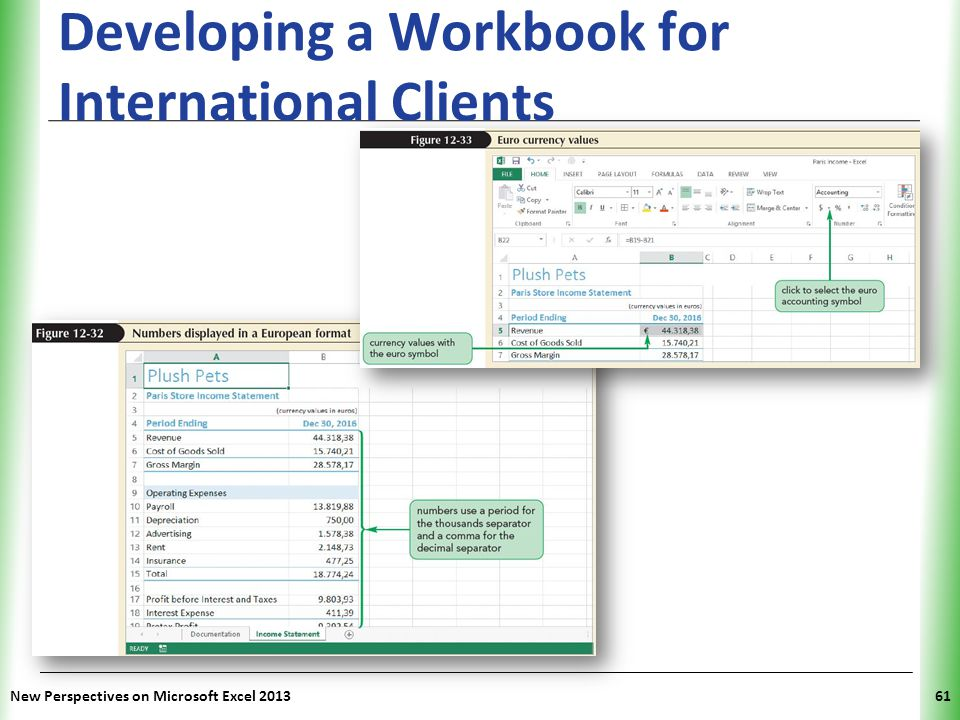 XP Developing a Workbook for International Clients New Perspectives on Microsoft Excel 201361