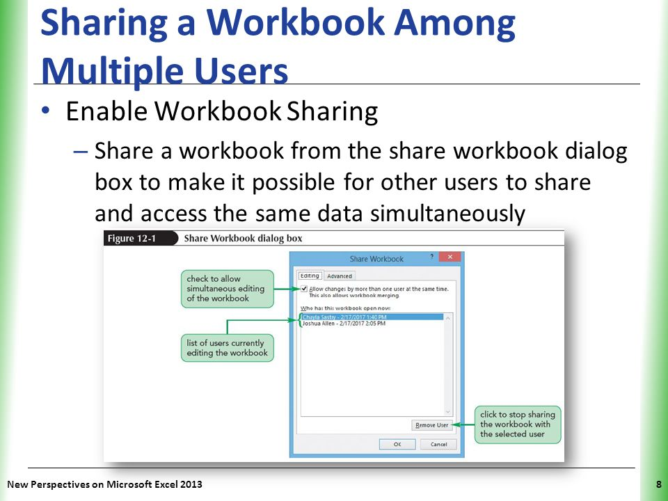 XP Sharing a Workbook Among Multiple Users Enable Workbook Sharing – Share a workbook from the share workbook dialog box to make it possible for other