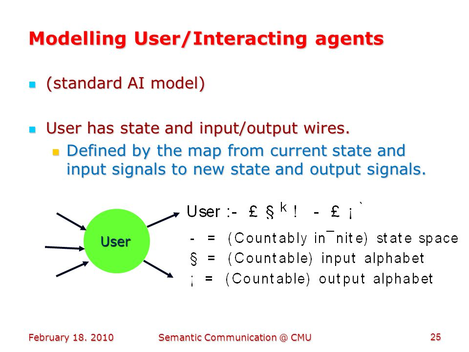 Modelling User/Interacting agents (standard AI model) (standard AI model) User has state and input/output wires.