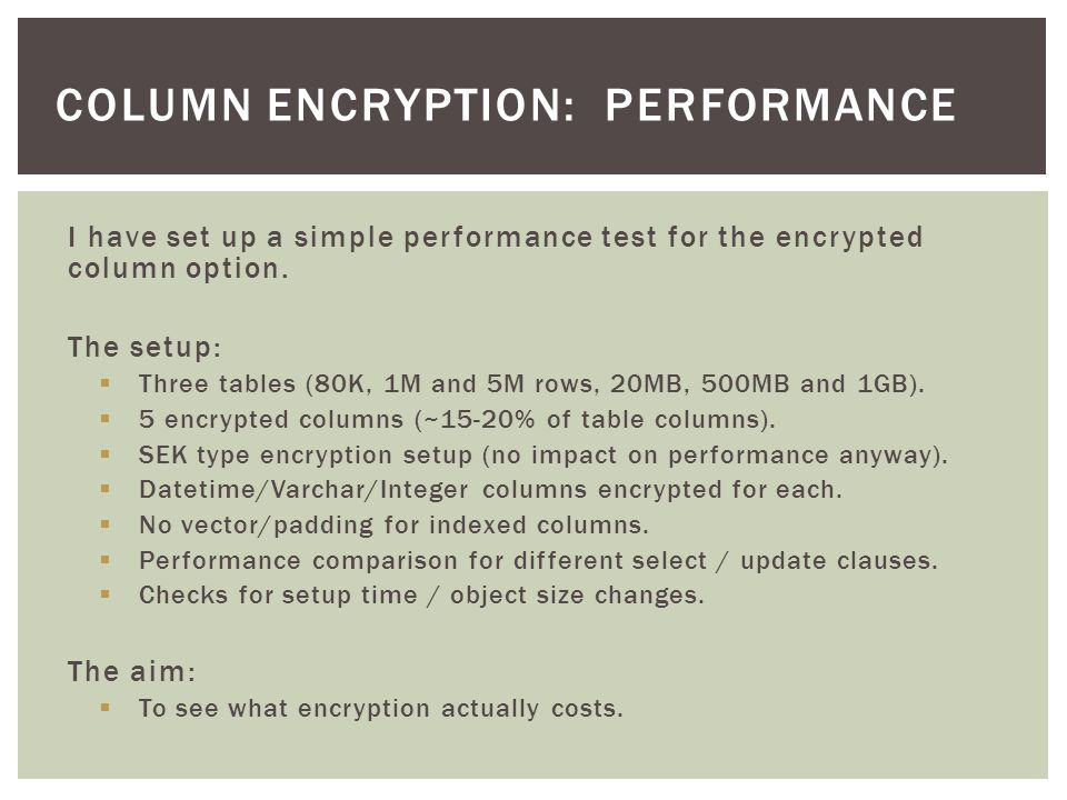 I have set up a simple performance test for the encrypted column option.