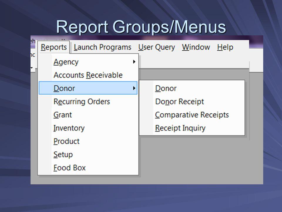 Report Groups/Menus