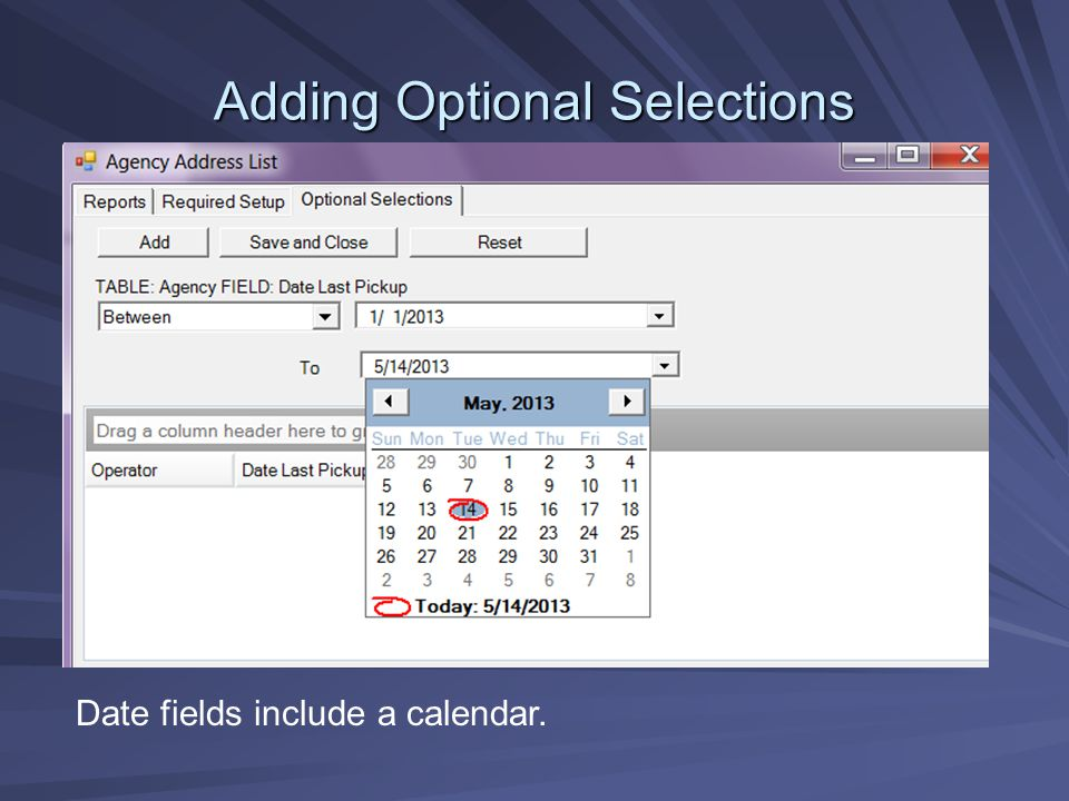 Adding Optional Selections Date fields include a calendar.