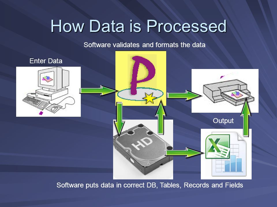 How Data is Processed Enter Data Software validates and formats the data Software puts data in correct DB, Tables, Records and Fields Output