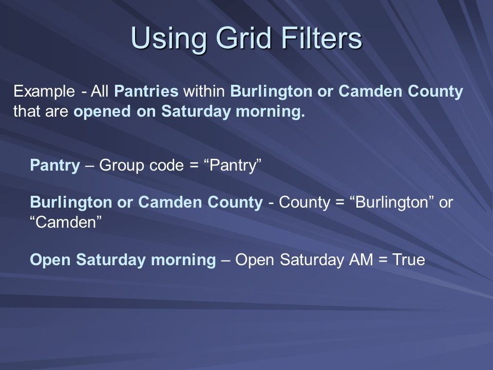 """Example - All Pantries within Burlington or Camden County that are opened on Saturday morning. Pantry – Group code = """"Pantry"""" Burlington or Camden Cou"""