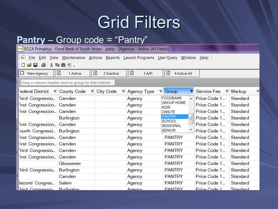 Grid Filters Pantry – Group code = Pantry