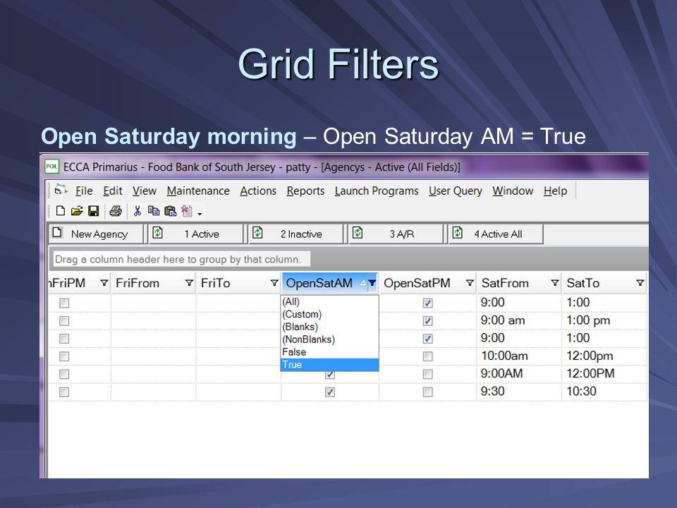 Grid Filters Open Saturday morning – Open Saturday AM = True