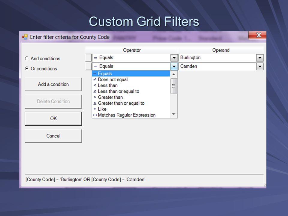 Custom Grid Filters