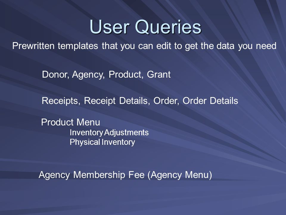 User Queries Donor, Agency, Product, Grant Receipts, Receipt Details, Order, Order Details Agency Membership Fee (Agency Menu) Product Menu Inventory Adjustments Physical Inventory Prewritten templates that you can edit to get the data you need