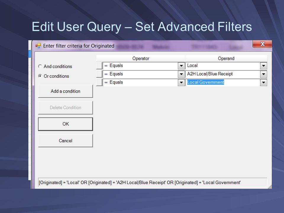 Edit User Query – Set Advanced Filters
