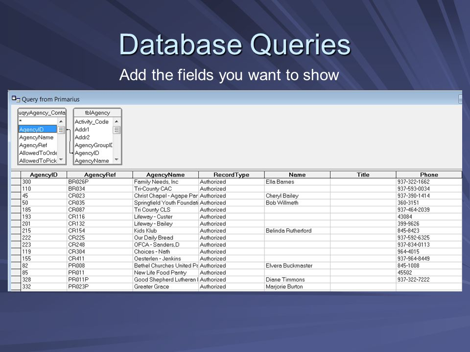 Database Queries Add the fields you want to show