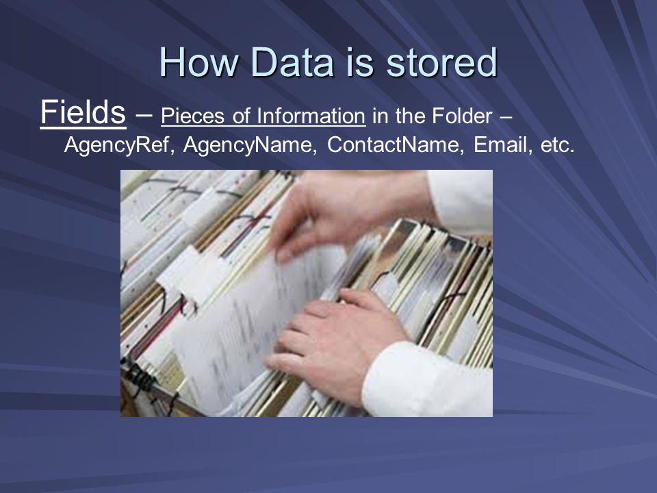 How Data is stored Fields – Pieces of Information in the Folder – AgencyRef, AgencyName, ContactName, Email, etc.