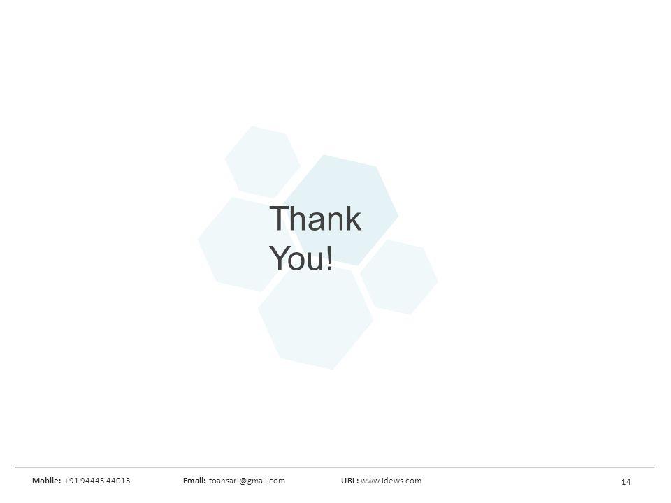 14 Mobile: +91 94445 44013Email: toansari@gmail.comURL: www.idews.com Thank You!