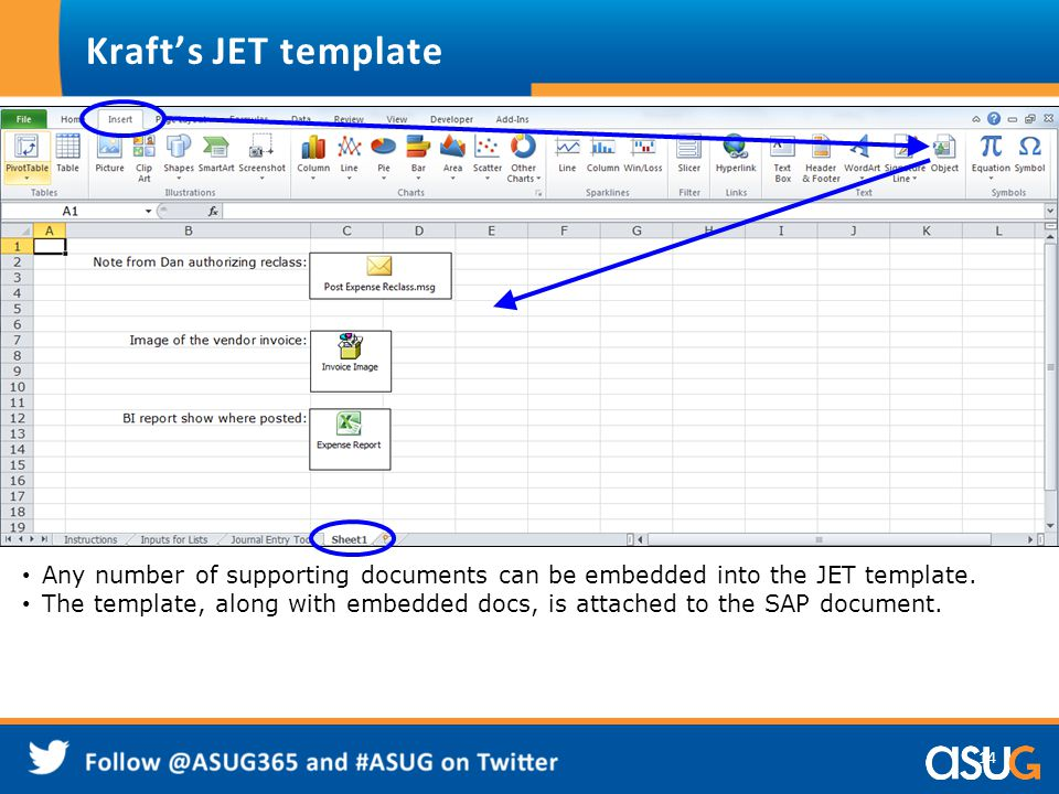 14 Any number of supporting documents can be embedded into the JET template. The template, along with embedded docs, is attached to the SAP document.