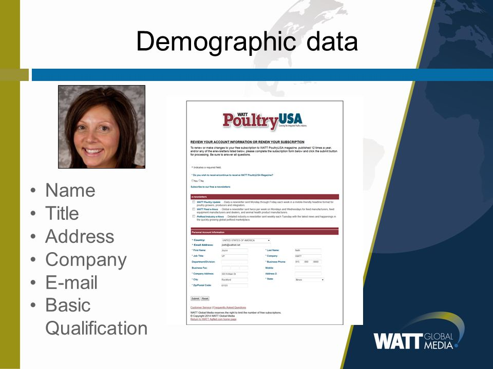 Demographic data Name Title Address Company E-mail Basic Qualification