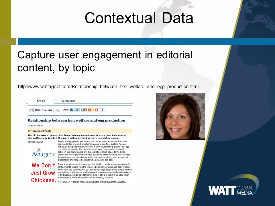 Contextual Data Capture user engagement in editorial content, by topic http://www.wattagnet.com/Relationship_between_hen_welfare_and_egg_production.html