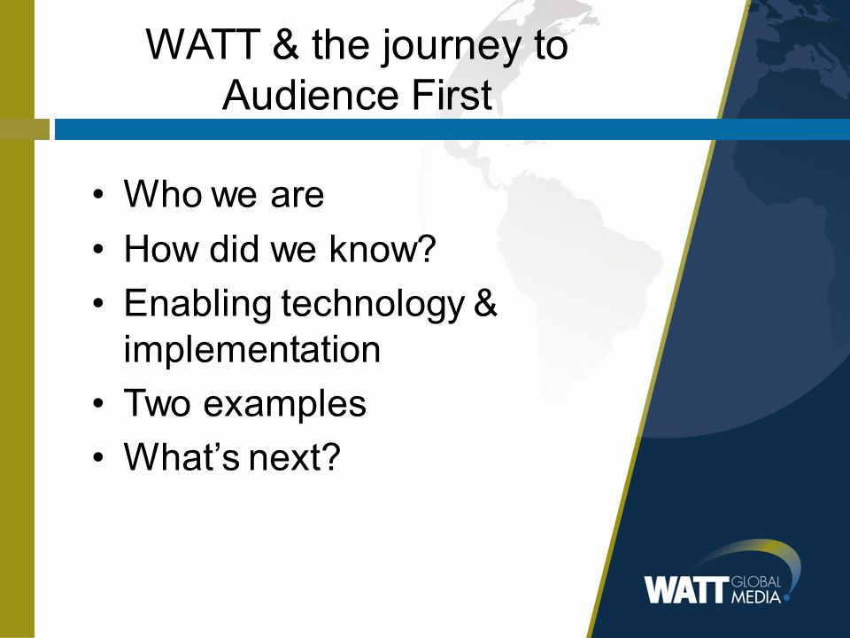 WATT & the journey to Audience First Who we are How did we know.