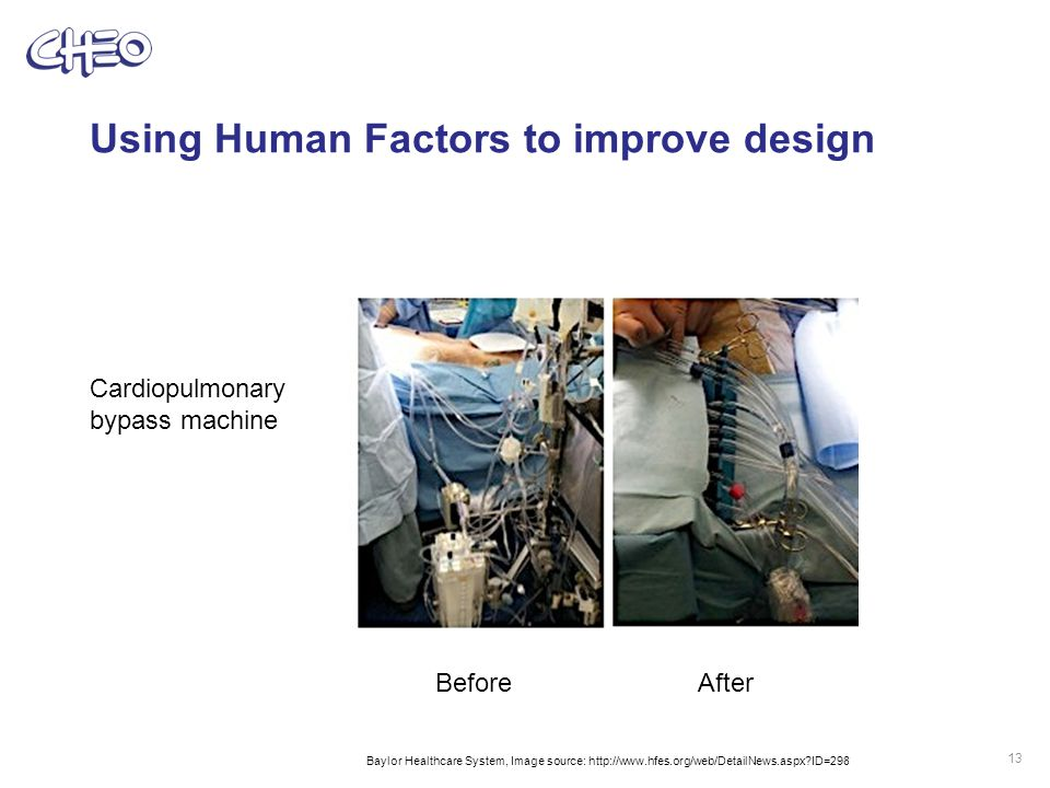 Using Human Factors to improve design 13 BeforeAfter Cardiopulmonary bypass machine Baylor Healthcare System, Image source: http://www.hfes.org/web/DetailNews.aspx ID=298