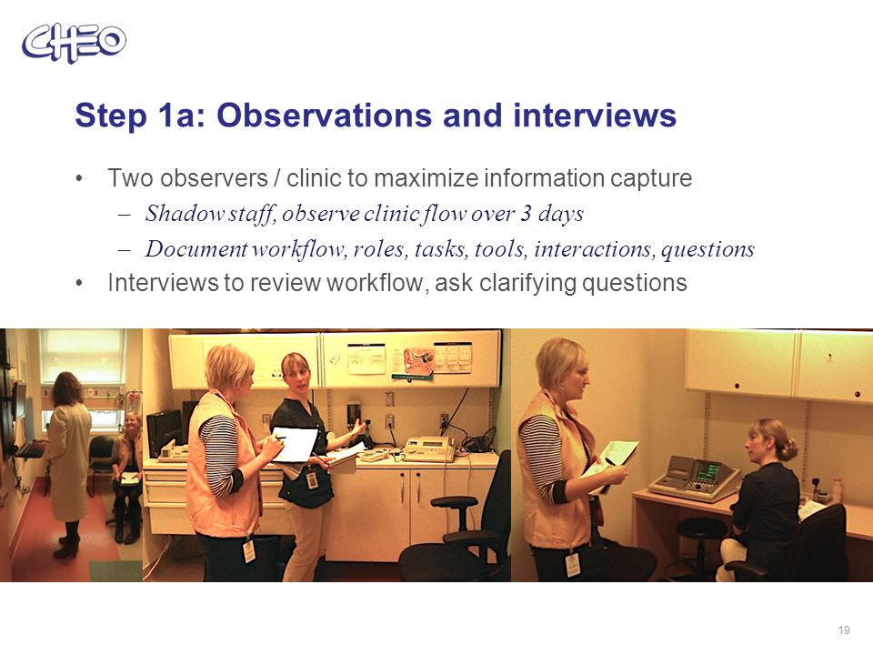 Step 1a: Observations and interviews Two observers / clinic to maximize information capture –Shadow staff, observe clinic flow over 3 days –Document workflow, roles, tasks, tools, interactions, questions Interviews to review workflow, ask clarifying questions 19