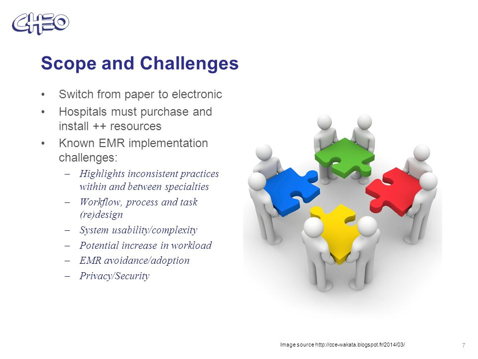 Scope and Challenges Switch from paper to electronic Hospitals must purchase and install ++ resources Known EMR implementation challenges: –Highlights inconsistent practices within and between specialties –Workflow, process and task (re)design –System usability/complexity –Potential increase in workload –EMR avoidance/adoption –Privacy/Security 7 Image source http://cce-wakata.blogspot.fr/2014/03/