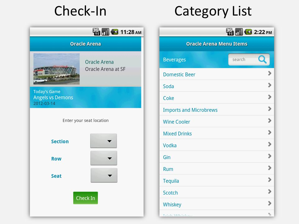 Check-In Category List