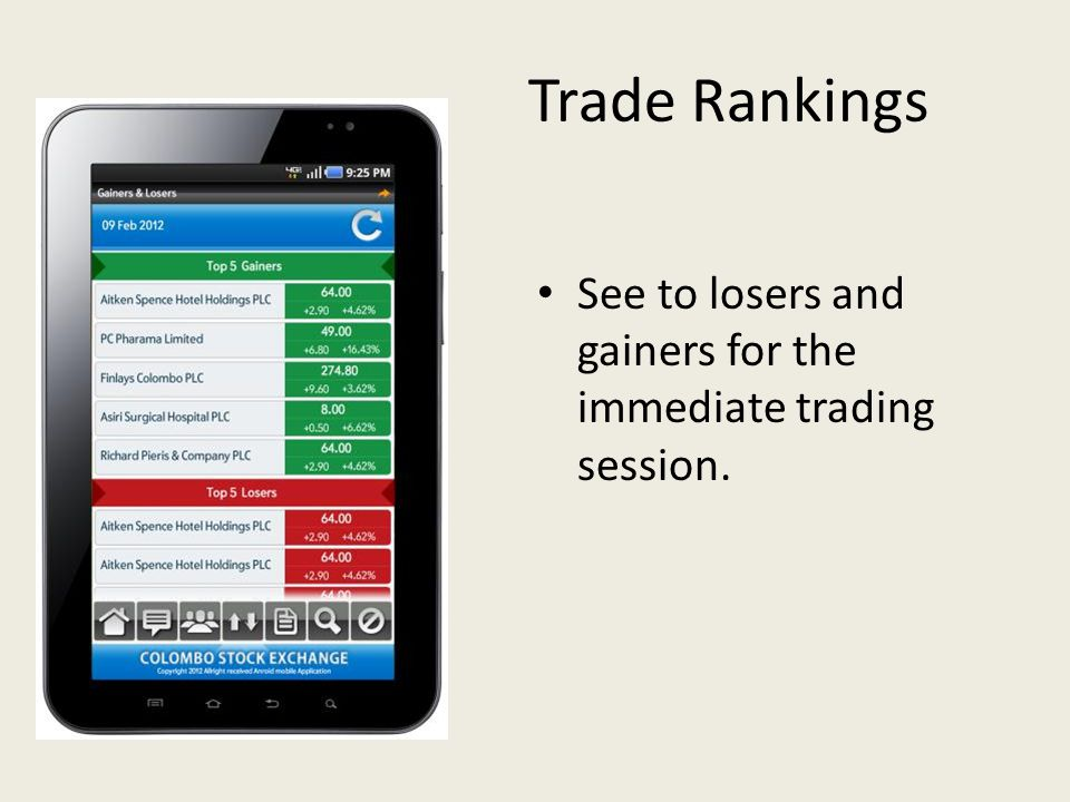 Trade Rankings See to losers and gainers for the immediate trading session.