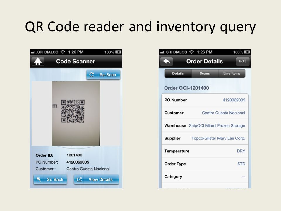 QR Code reader and inventory query