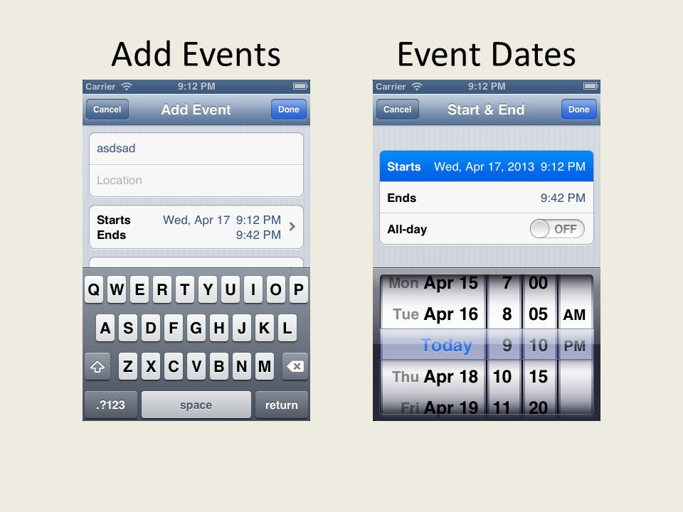 Add EventsEvent Dates