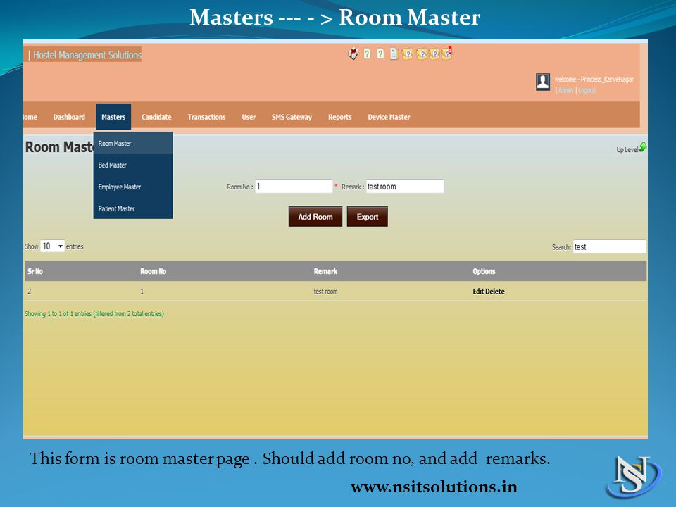 Masters --- - > Room Master This form is room master page.
