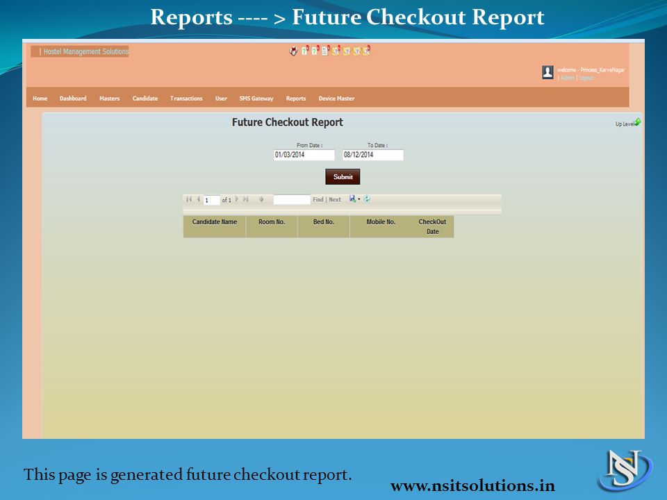 Reports ---- > Future Checkout Report This page is generated future checkout report. www.nsitsolutions.in
