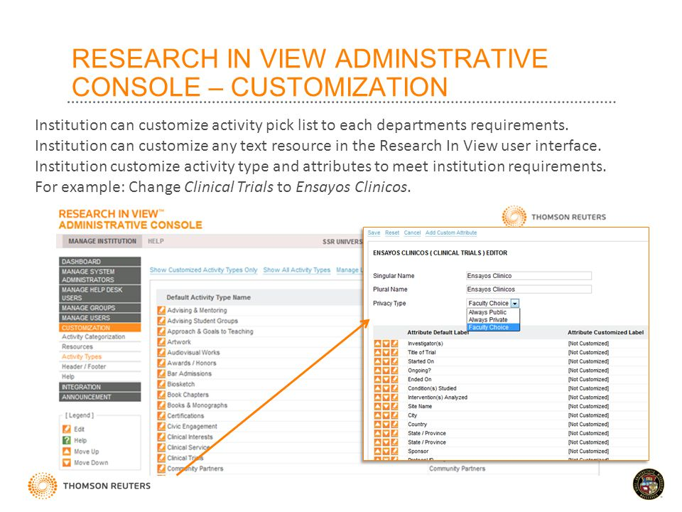 RESEARCH IN VIEW ADMINSTRATIVE CONSOLE – CUSTOMIZATION Institution can customize activity pick list to each departments requirements.