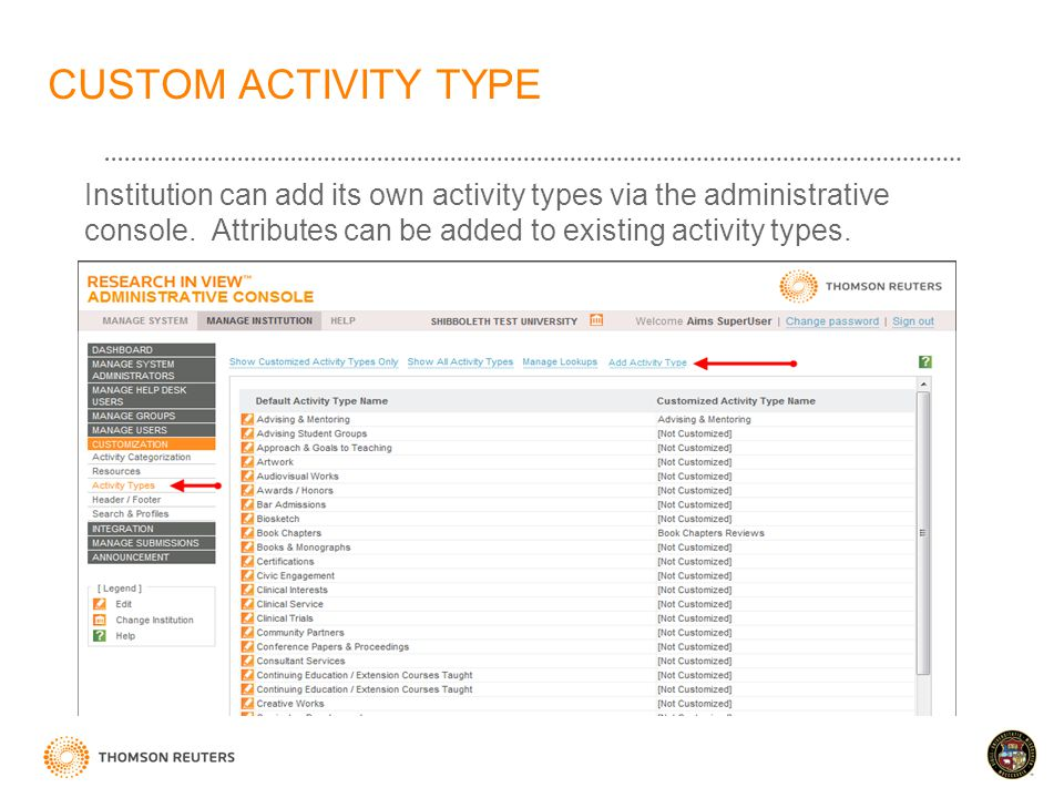 CUSTOM ACTIVITY TYPE Institution can add its own activity types via the administrative console.