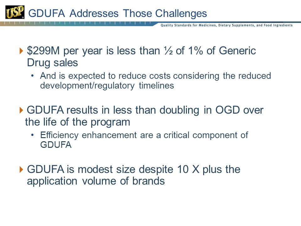 23 GDUFA Addresses Those Challenges  $299M per year is less than ½ of 1% of Generic Drug sales And is expected to reduce costs considering the reduced development/regulatory timelines  GDUFA results in less than doubling in OGD over the life of the program Efficiency enhancement are a critical component of GDUFA  GDUFA is modest size despite 10 X plus the application volume of brands
