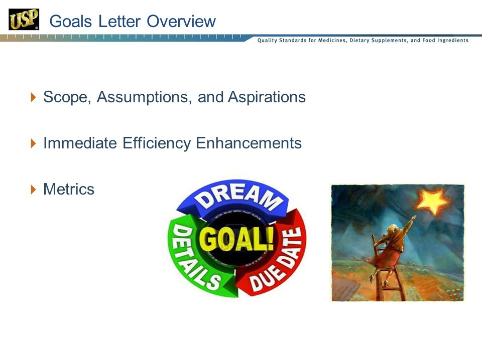 25 Goals Letter Overview  Scope, Assumptions, and Aspirations  Immediate Efficiency Enhancements  Metrics