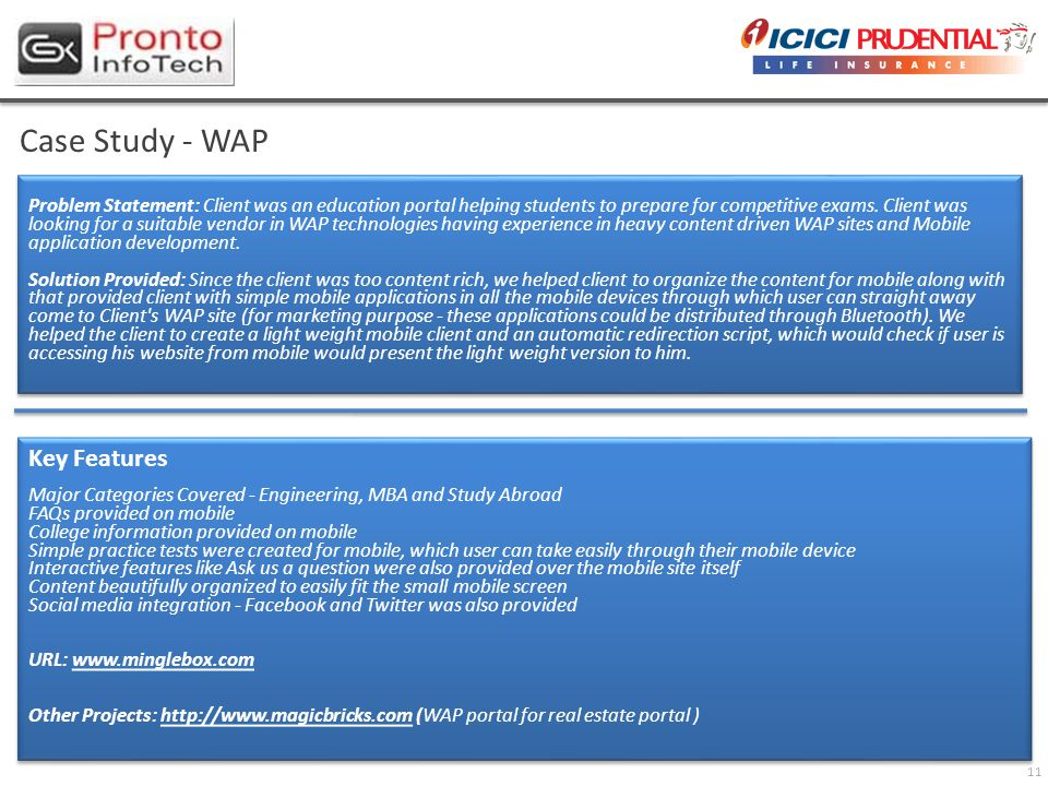 11 Case Study - WAP Problem Statement: Client was an education portal helping students to prepare for competitive exams.