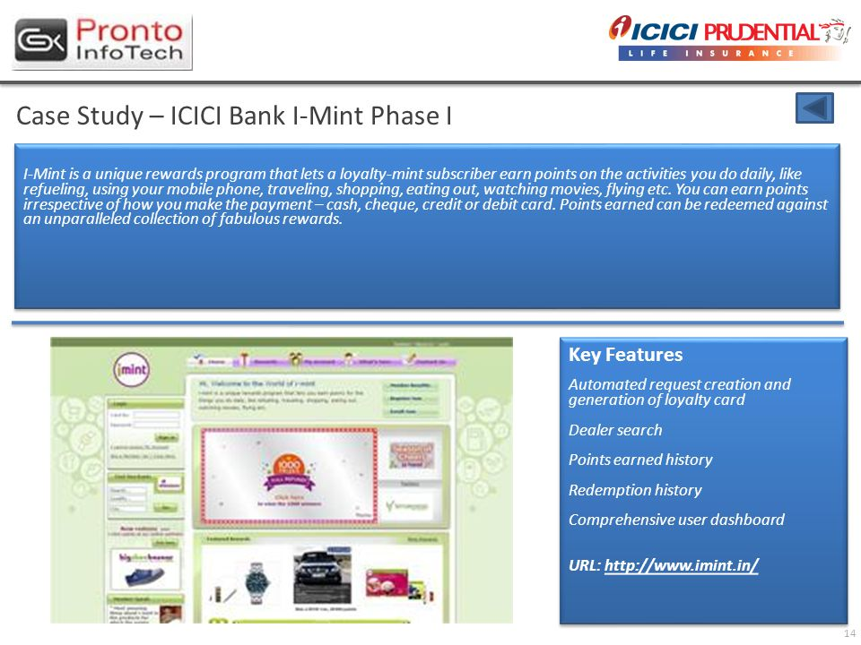 14 Case Study – ICICI Bank I-Mint Phase I I-Mint is a unique rewards program that lets a loyalty-mint subscriber earn points on the activities you do daily, like refueling, using your mobile phone, traveling, shopping, eating out, watching movies, flying etc.
