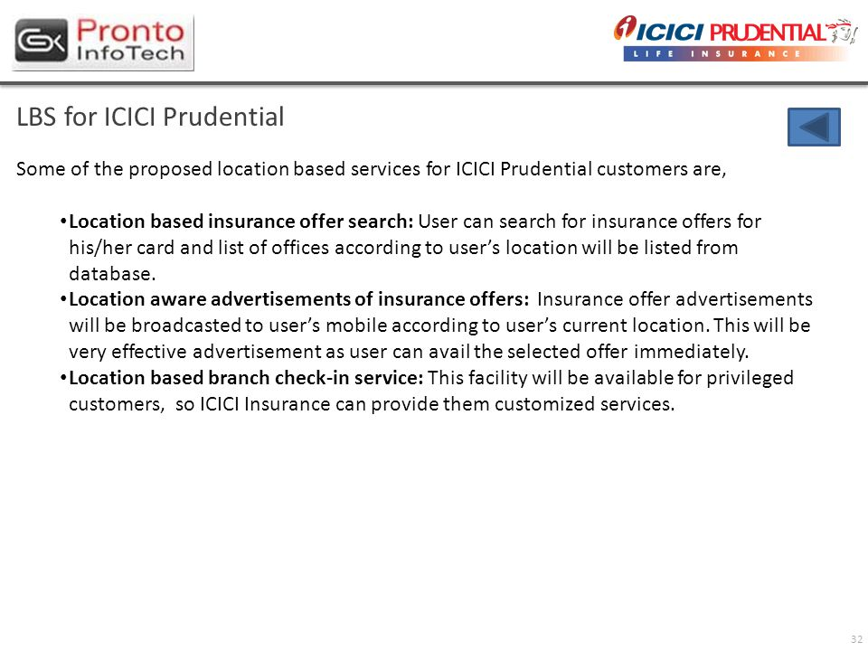 32 LBS for ICICI Prudential Some of the proposed location based services for ICICI Prudential customers are, Location based insurance offer search: Us