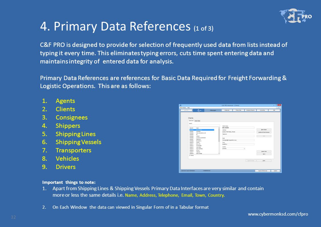 4. Primary Data References (1 of 3) C&F PRO is designed to provide for selection of frequently used data from lists instead of typing it every time. T