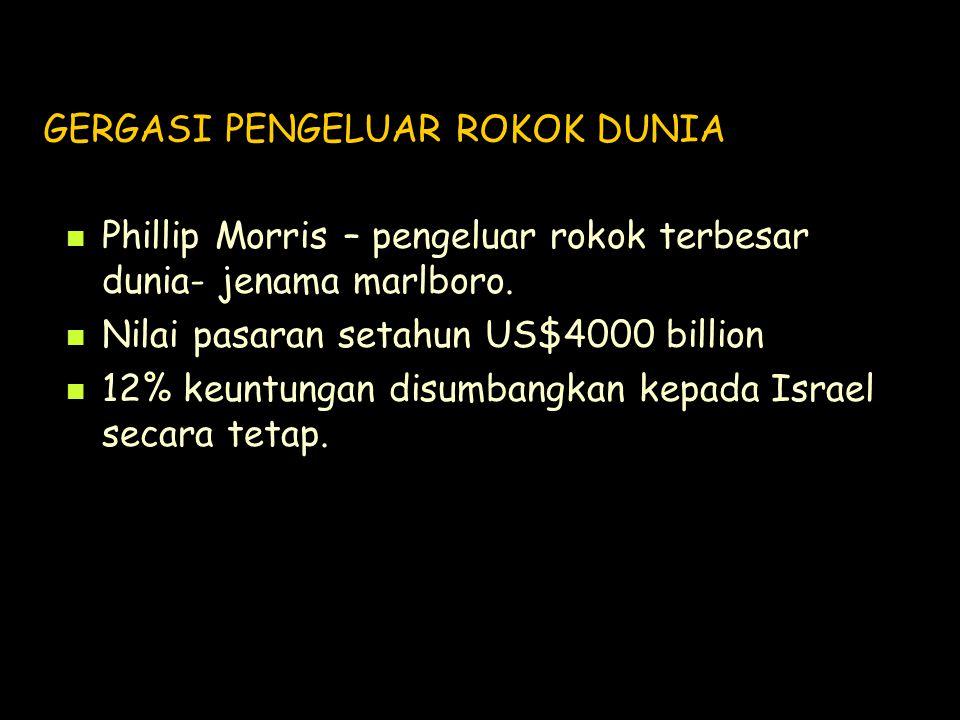 GERGASI PENGELUAR ROKOK DUNIA Phillip Morris – pengeluar rokok terbesar dunia- jenama marlboro. Nilai pasaran setahun US$4000 billion 12% keuntungan d