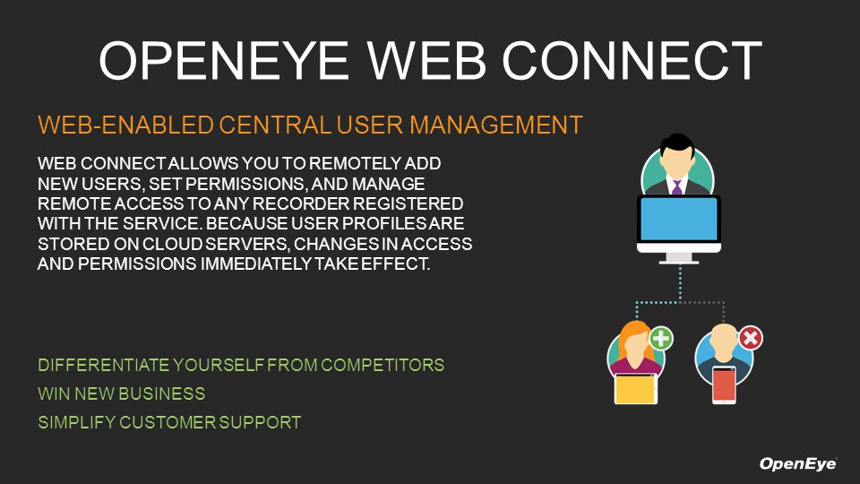 OPENEYE WEB CONNECT WEB-ENABLED CENTRAL USER MANAGEMENT WEB CONNECT ALLOWS YOU TO REMOTELY ADD NEW USERS, SET PERMISSIONS, AND MANAGE REMOTE ACCESS TO ANY RECORDER REGISTERED WITH THE SERVICE.