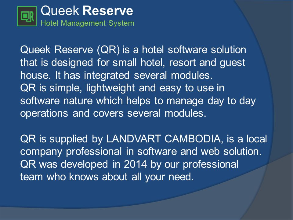 Queek Reserve Hotel Management System  Change Room Change Room offers a simple and easy processing to transfer all previous guest's usages and payments to new room with new room rate or previous rate.