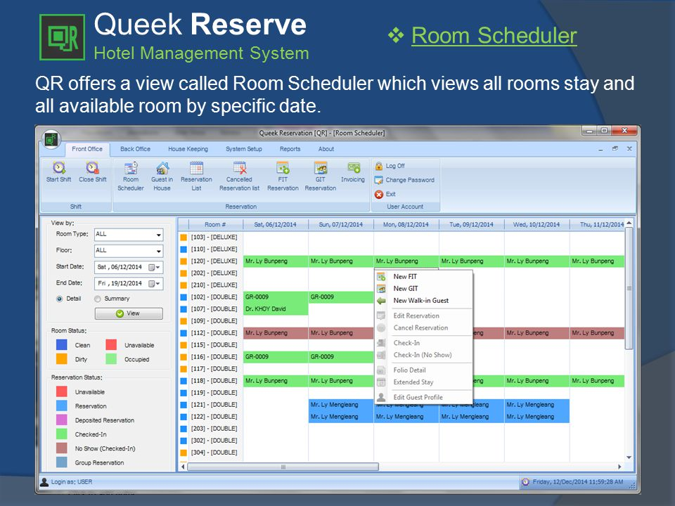 Queek Reserve Hotel Management System  User Configuration QR allows you to configure user accounts and privileges to guarantee your user accessing certain functions and reports.