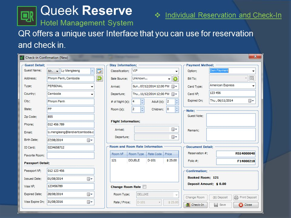 Queek Reserve Hotel Management System  Individual Reservation and Check-In QR offers a unique user Interface that you can use for reservation and check in.