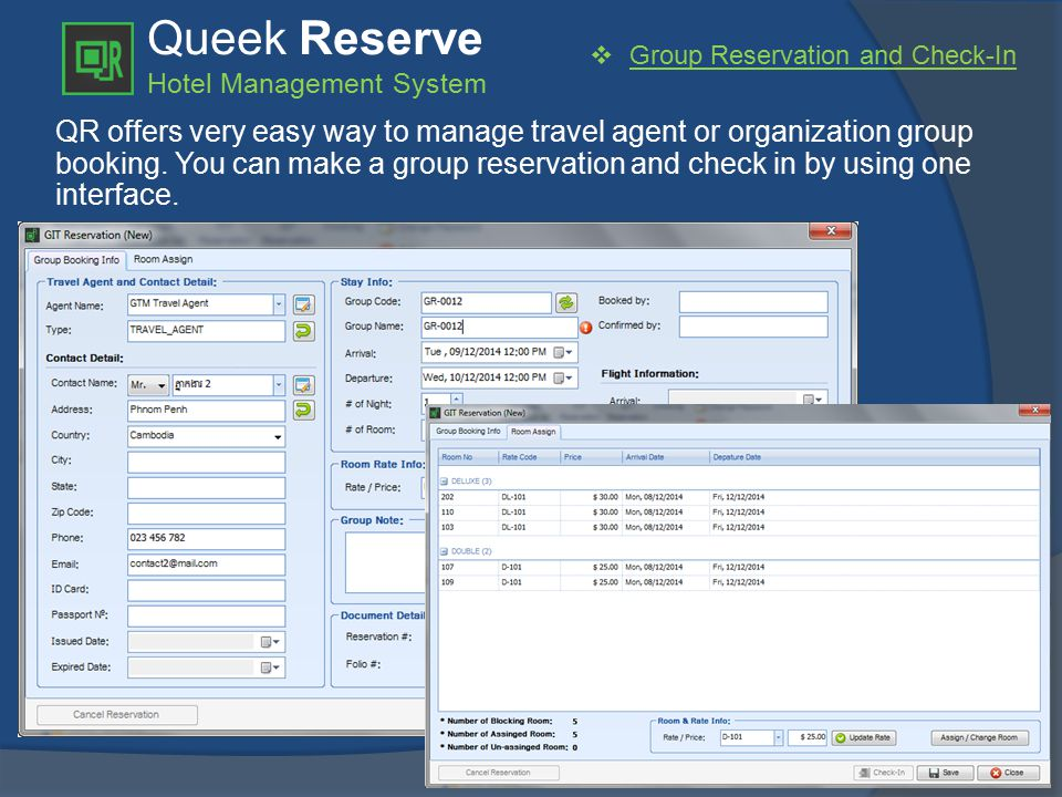 Queek Reserve Hotel Management System  Group Reservation and Check-In QR offers very easy way to manage travel agent or organization group booking.