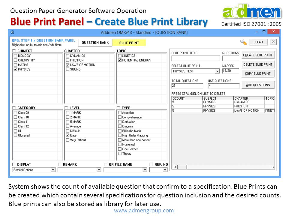 Certified ISO 27001 : 2005 www.admengroup.com Blue Print Panel – Create Blue Print Library Question Paper Generator Software Operation System shows the count of available question that confirm to a specification.