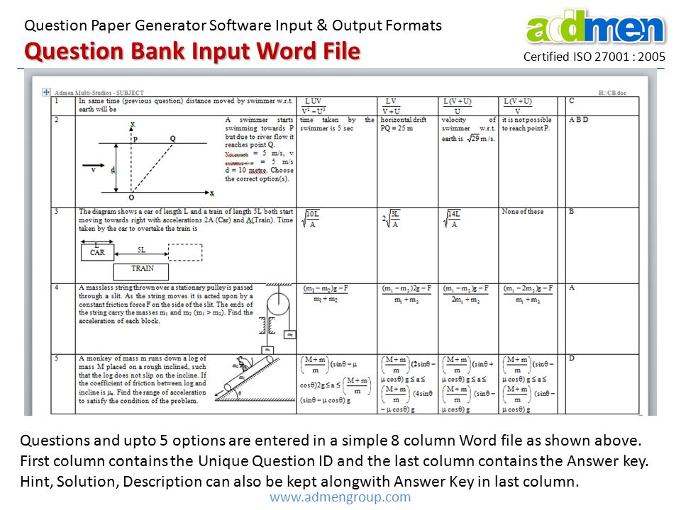 Question Bank Input Word File Certified ISO 27001 : 2005 Question Paper Generator Software Input & Output Formats www.admengroup.com Questions and upto 5 options are entered in a simple 8 column Word file as shown above.