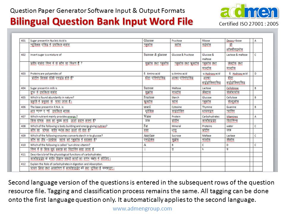 Bilingual Question Bank Input Word File Certified ISO 27001 : 2005 Question Paper Generator Software Input & Output Formats www.admengroup.com Second