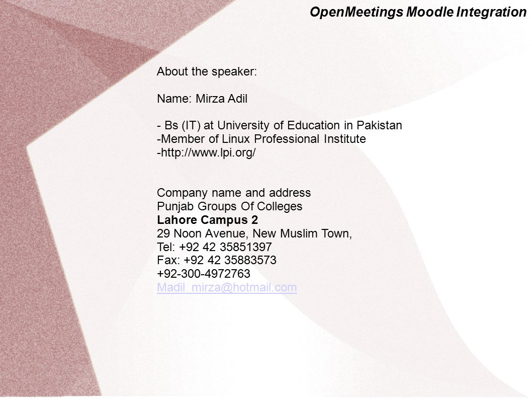 OpenMeetings Moodle Integration MoodleMoot Bari 2010 Presentation: 1) Web-Conferencing + Demo 2) Moodle Integration 3) Scale and Payed Services