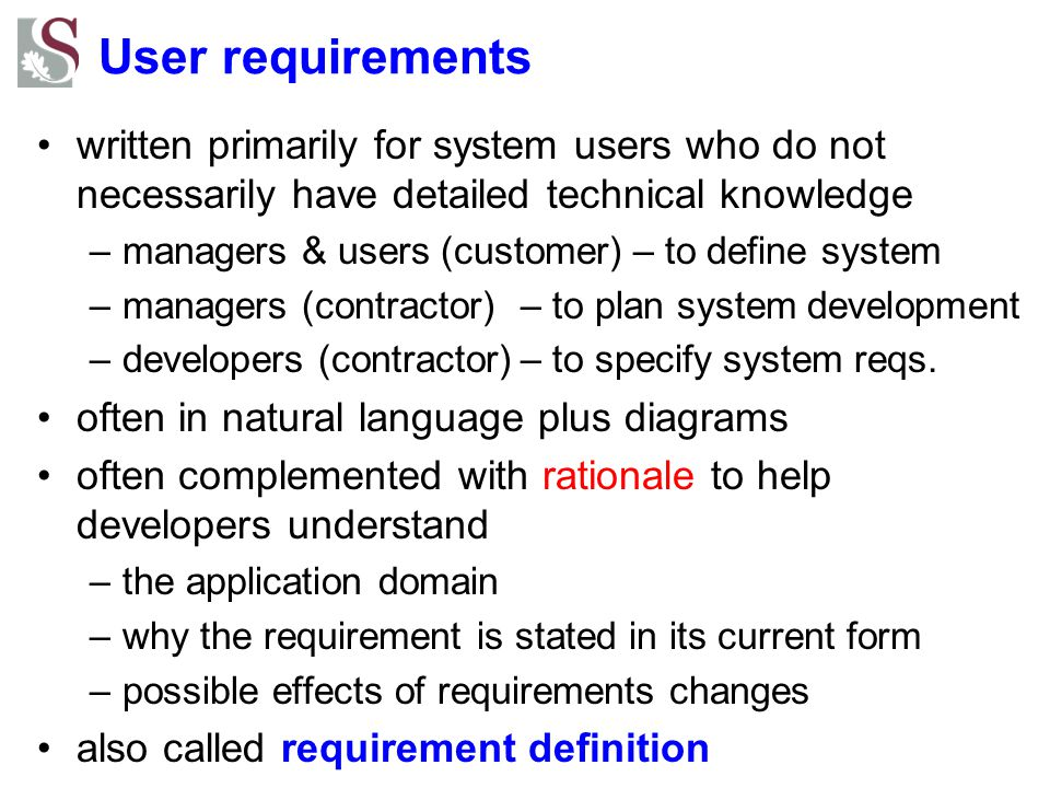 User requirements - example 1.