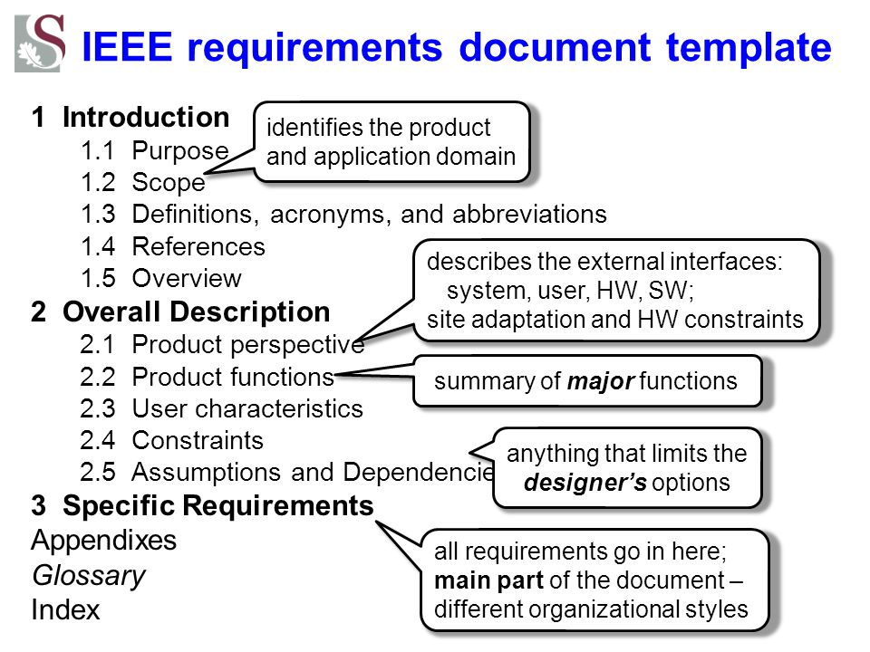 Specific Requirements How do we organize Section 3 (Specific requirements).