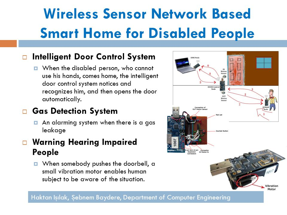 Wireless Sensor Network Based Smart Home for Disabled People  Intelligent Door Control System  When the disabled person, who cannot use his hands, comes home, the intelligent door control system notices and recognizes him, and then opens the door automatically.